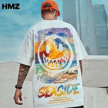HMZ Hip Hop Tee Men T Shirt Short Sleeve Loose Oil Painting Smiley Tshirt Summer Male Streetwear Oversized tshirt Men's Clothing