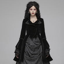 PUNK RAVE Women's Gothic Lolita Mid Long Coat Weft Velvet Fabric Retro Palace Evening Party Stage Perform Women Winter Jackets