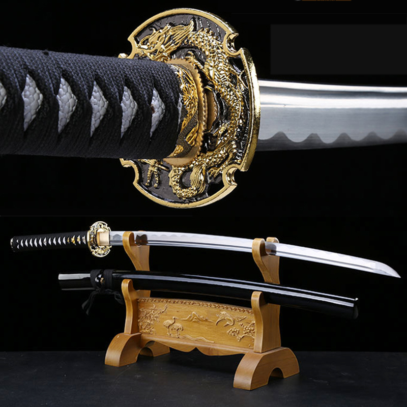 Japanese Katana Full Tang Handmade Swords Samurai Cutting Dragon Guard Katanas Sword Sharpness-2019 New Arrival