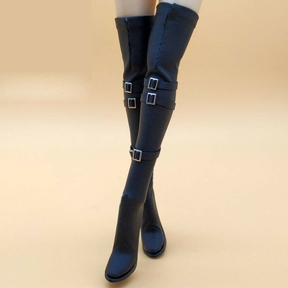 Mnotht <font><b>1/6</b></font> <font><b>Scale</b></font> Black high-heeled boots For 12in <font><b>Female</b></font> Soldier Action Figures Toys <font><b>Accessories</b></font> image