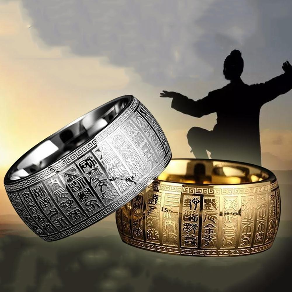 Carved Ancient Chinese Buddhism Scripture Supernatural Mens Cool Signet Exorcism Rune Rings Stainless Steel Thumb Buddha Ring|Rings| - AliExpress