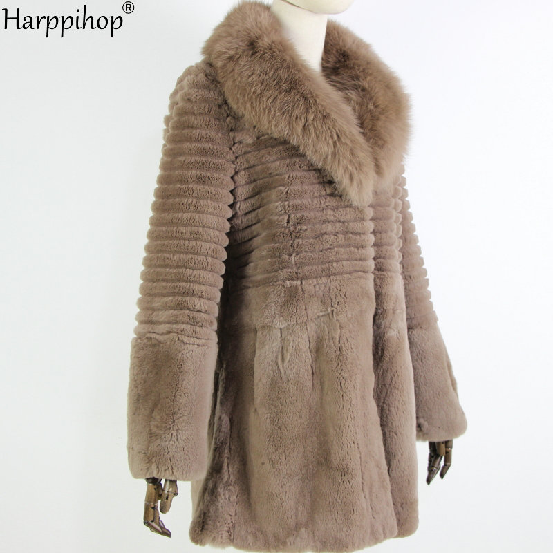 Women Fur Coat Real Fox Fur Collar Long Coat Stripe Nature Pure Genuine Rabbit Fur Jacket Factory Outlet Wholesale OEM Fur