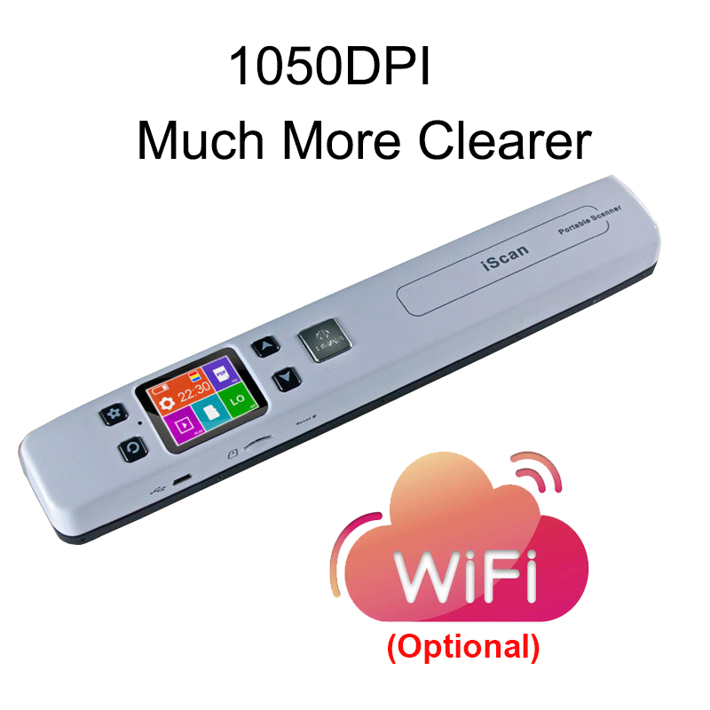 Scanner Document A4 Portable Handheld Mini Scanner Wireless Book Scanner With 1.8 Inch HD LCD Display High-Speed Scan More Clear
