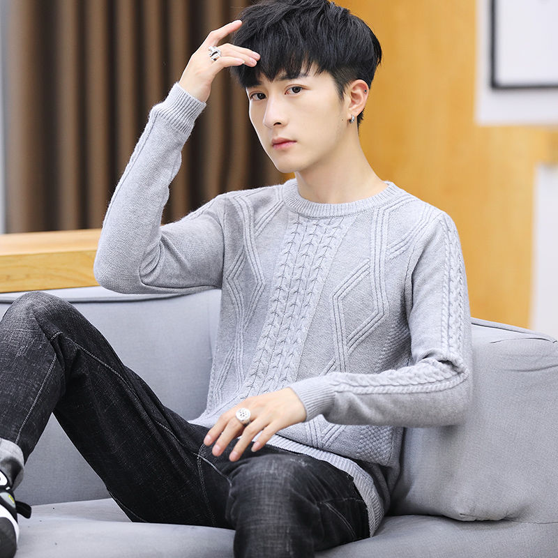 Autumn And Winter New Men's Sweater Korean Slim Trend Men's Round Neck Bottoming Sweater Men