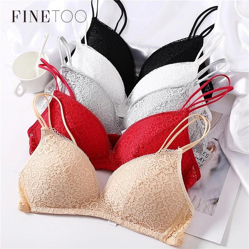 FINETOO-Sujetador de encaje sin aros para mujer, Bralette Floral, ropa interior femenina, copa A y B, lencería Sexy suave de Color sólido