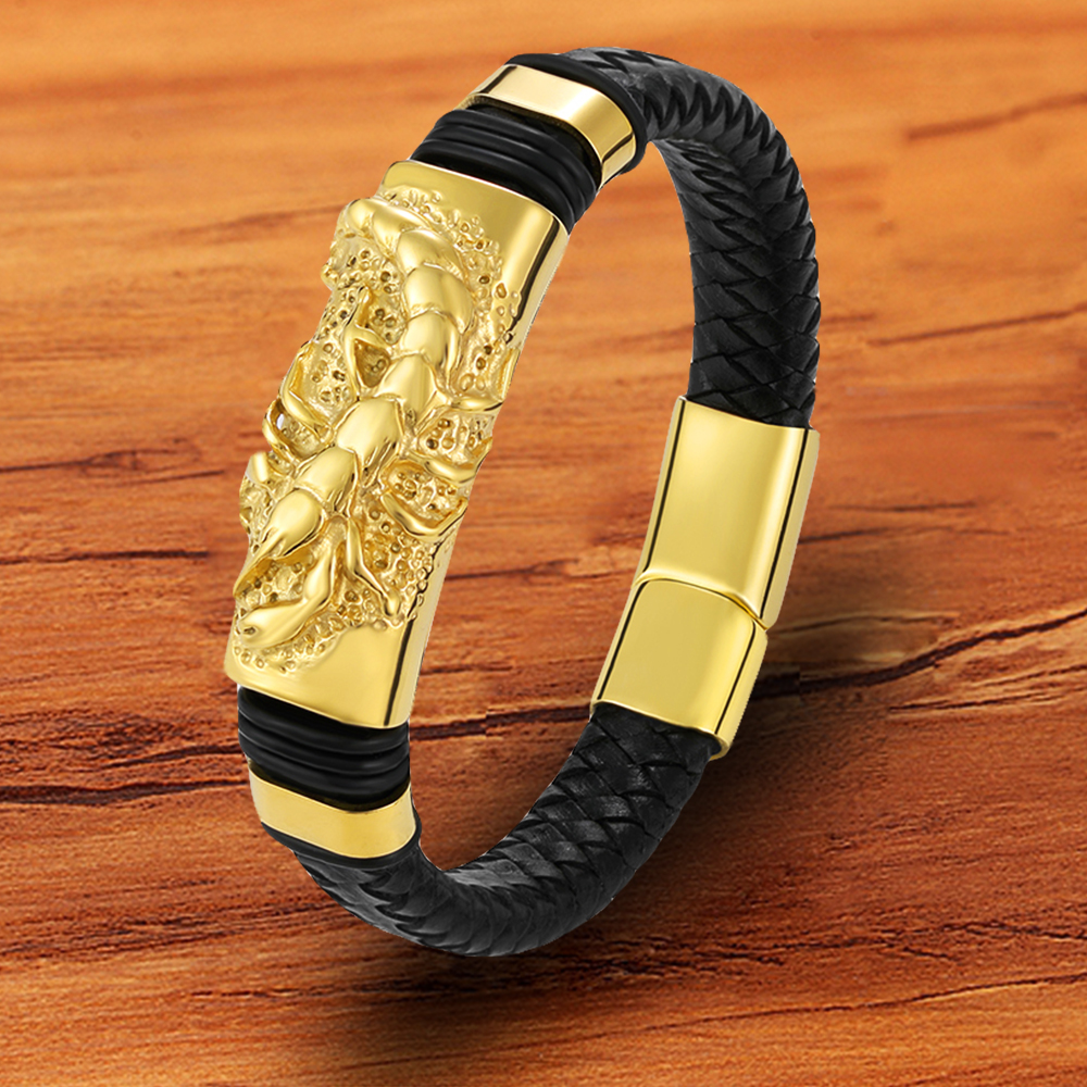 Fashion Braided Rope Gold Stainless Steel Black Shrimp Anymal Men 's Bracelet Genuine Leather Accessories Gift For friend