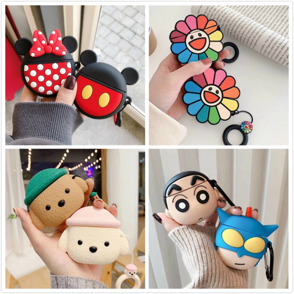 3D Earphone Case For Huawei Freebuds 3 Case Silicone Cute Bear Dinosaur Cartoon Cover For Huawei Freebuds 3 Pro Cases Keychain