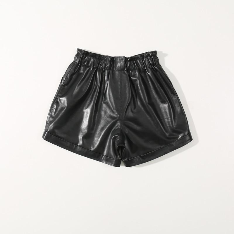 2020 New Loose Sheepskin Casual PantsThin Black High Waist Wide Leg  Shorts Women  High Waist Shorts  Women Shorts