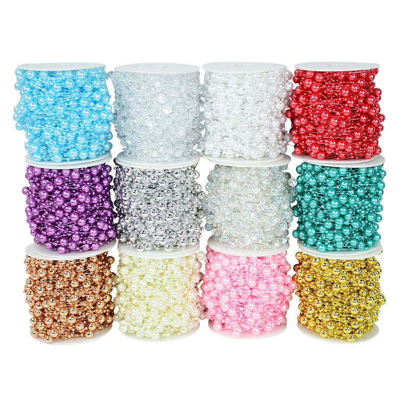 30 M 8+3mm Fishing Line Artificial Pearls Beads Chain String Garlands Flowers Bridal Bouquet Wedding Party Decor DIY Accessories