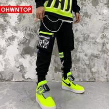 OHWNTOP Side Buckle Pockets Cargo Harem Joggers Pants Streetwear Mens Harajuku Hip Hop Hipster Casual Sweatpants Trousers Pants