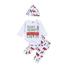 Christmas Newborn Baby Girl Boy Snowflake Romper Pants Leggings Hat 3pcs Outfits Infant Bebek Clothing Set 0-18M