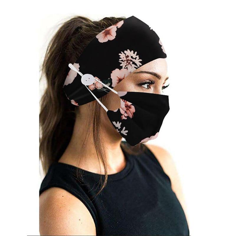 2Pcs/set button head band mask turban hair accessories soft yoga sports elastic hair band fashion hair band with mask unisex 3