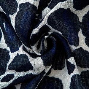 Image 5 - Pamuk atkılar kız bahar yaz kore tarzı mavi leopar çizgili uzun şal