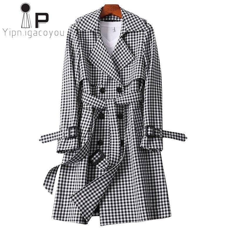 England Style Windbreaker Women 2019 Autumn Fashion Belt Double breasted Plaid Long   Trench   Coat Women Slim Office Lady Outerwear