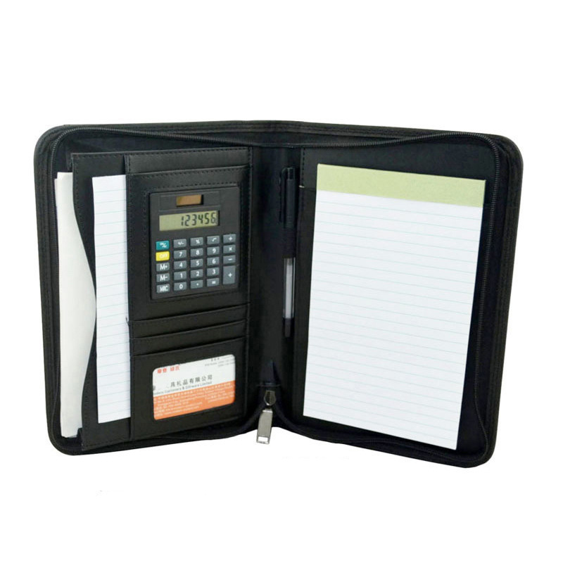 Multifunction A5 Document Zipper Bag Folders With A Zip Calculator Faux Leather Business File Zipped Folder For Documents Bill
