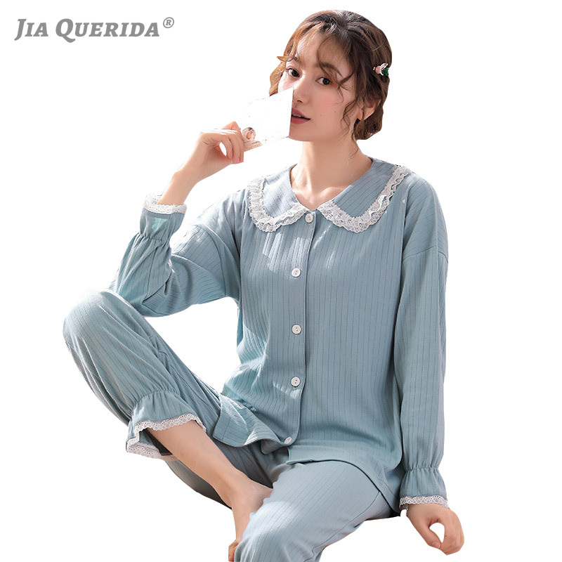 Loungewear Lace Collar 2020 New Spring Cotton Pajamas For Women Blue Solid Laple Top Long Sleeves Pants Pyjamas Women Homewear