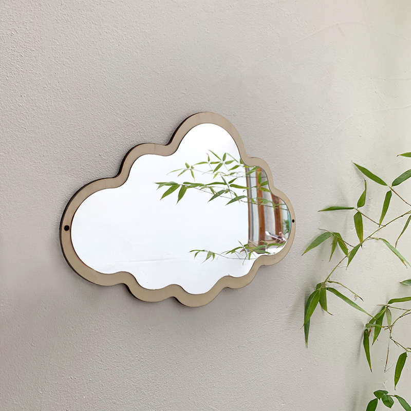 Cutelife Nordic Cloud Wood Make-Up Decorative Mirror Glass Living Room Vintage Wall Mirror Room Desktop Stickers Hanging Mirror
