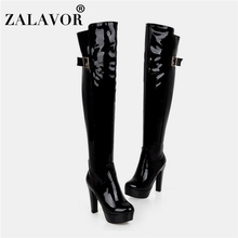 ZALAVOR Women Warm Thigh High Boots Winter Patent Leather Fur Women's Shoes Sexy Buckle Platform High Heel Boots Size 33-43 все цены