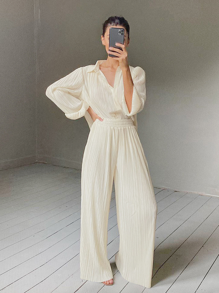 Oversized Pants Pleated Women Trousers OOTN Ruched Elastic Khaki Elegant High-Waist Wide