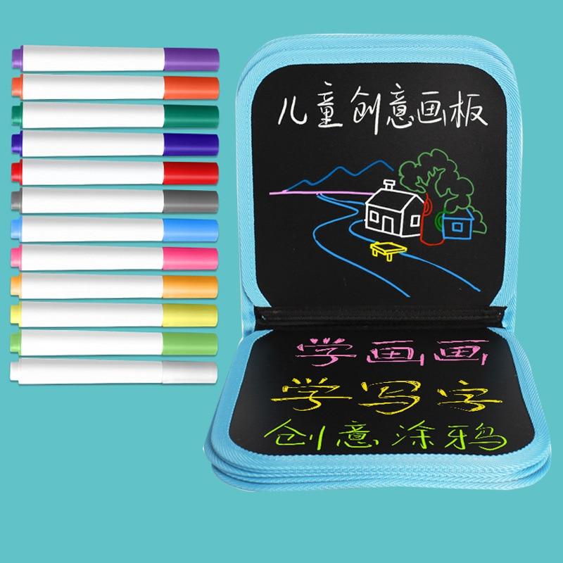 CHILD'S Drawing Book Magic Portable Small Blackboard Creative Graffiti This Gouache Pen Wipable Drawable Kindergarten Gift