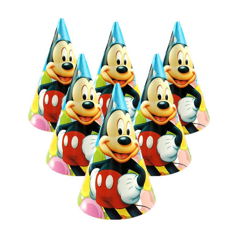 Mickey mouse crianças festa de aniversário decoração conjunto fontes de festa copo placa banner chapéu palha saco de saque garfo copo placa toalha boné
