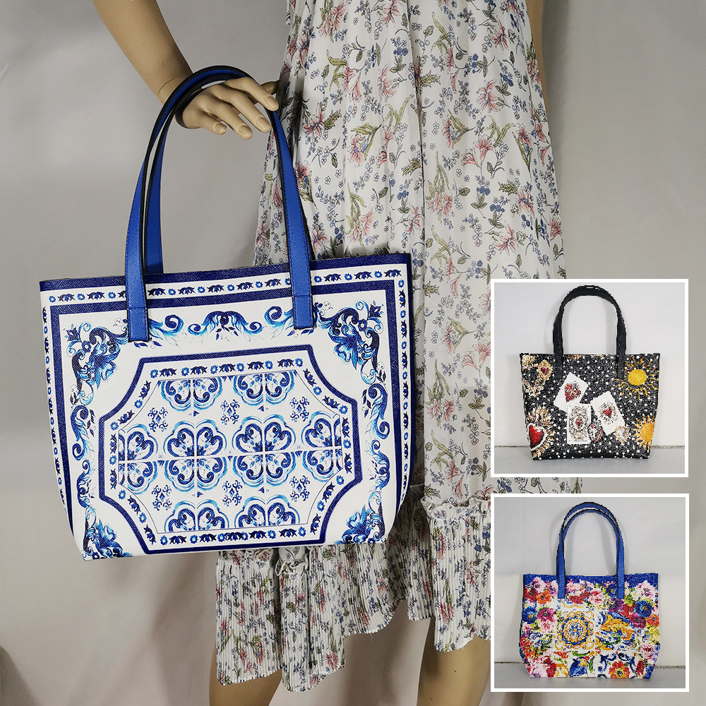 Italy Elegant Lady Girl Handbag Blue And White Porcelain Pattern Shoulder Bag Extra Large Tote Bag Luxury Brand Women Bag Beach