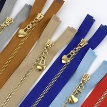 Металлическая молния 3# с открытым концом 40/50/60/70 см с золотыми зубьями для застежки-молнии для сумки кошелек пуховик, куртка, юбка, аксессуары для одежды ZA038