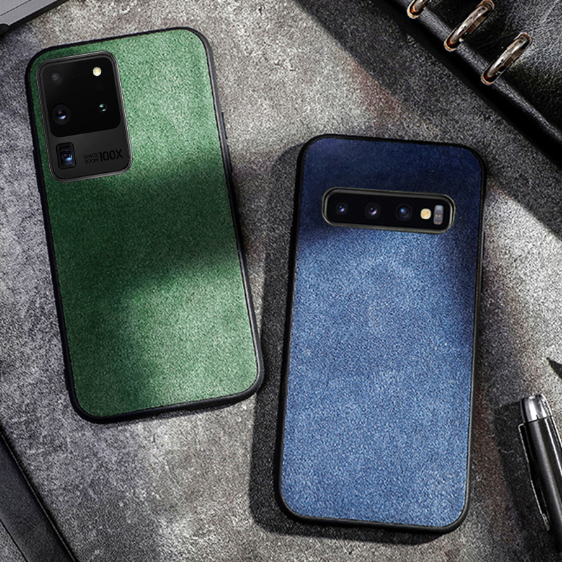 Genuine Cow Suede Leather Phone Case For Samsung Galaxy S20 Ultra S7 S8 S9 S10e Plus Note 10 Plus 8 9 A50 A70 A30s A40 A8 2018