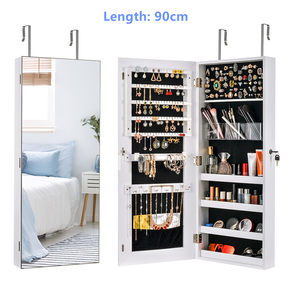 Multifunctional LED Jewelry Mirror Cabinet Wall Door Mounted Jewelry Cabinet Lockable Armoire Organizer Dresser Mirror with LED 12