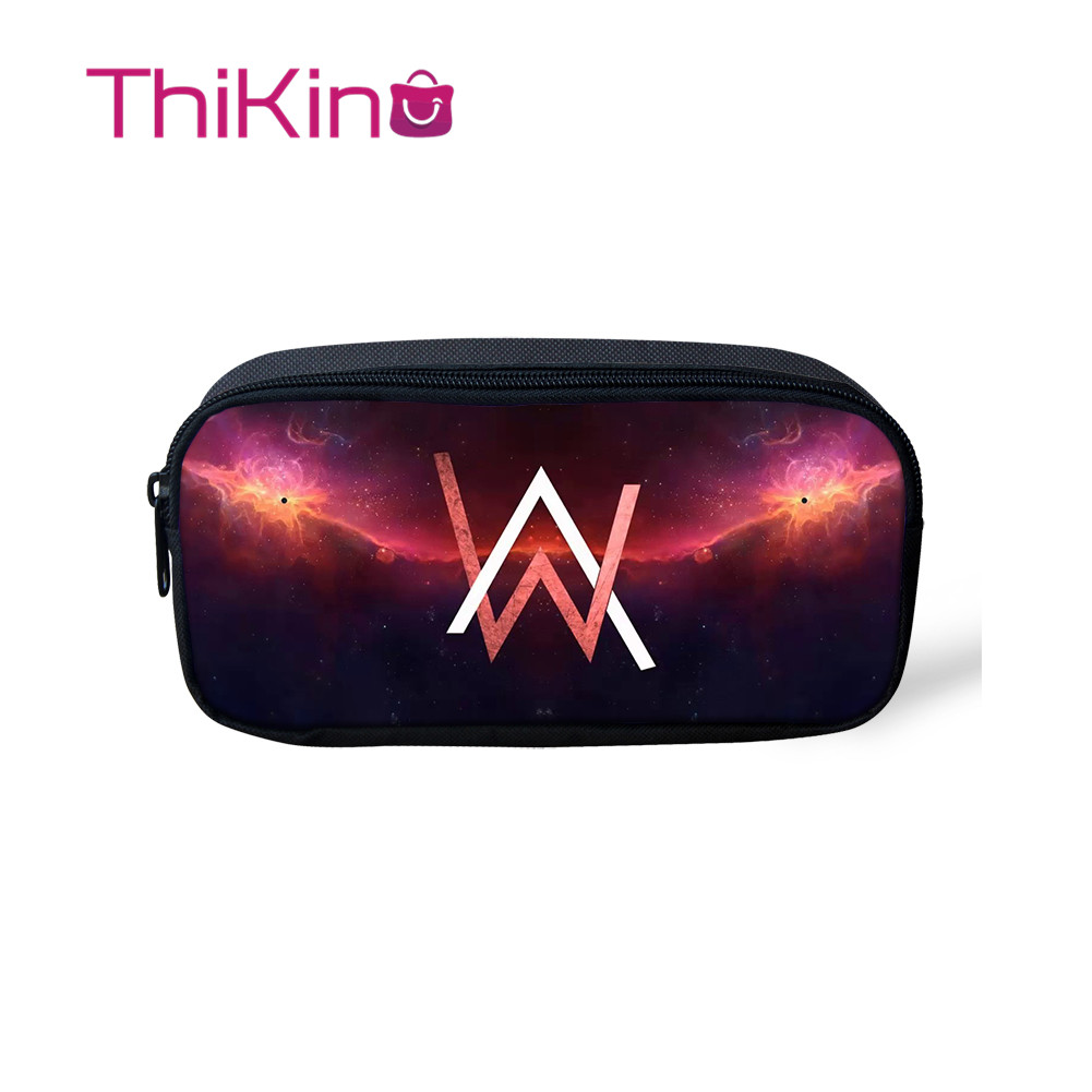 Thikin Casual Pencil Case For Girls Cool DJ Alan Walker Pen Bags For Student School Supplie For Boys  Pen Purses For Kids