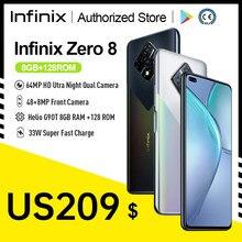 Infinix zero 8 versão global 8gb 128gb telefone inteligente 6.85 fffhd 90hz tela cheia 64mp quad câmera 4500mah bateria 33w carregador