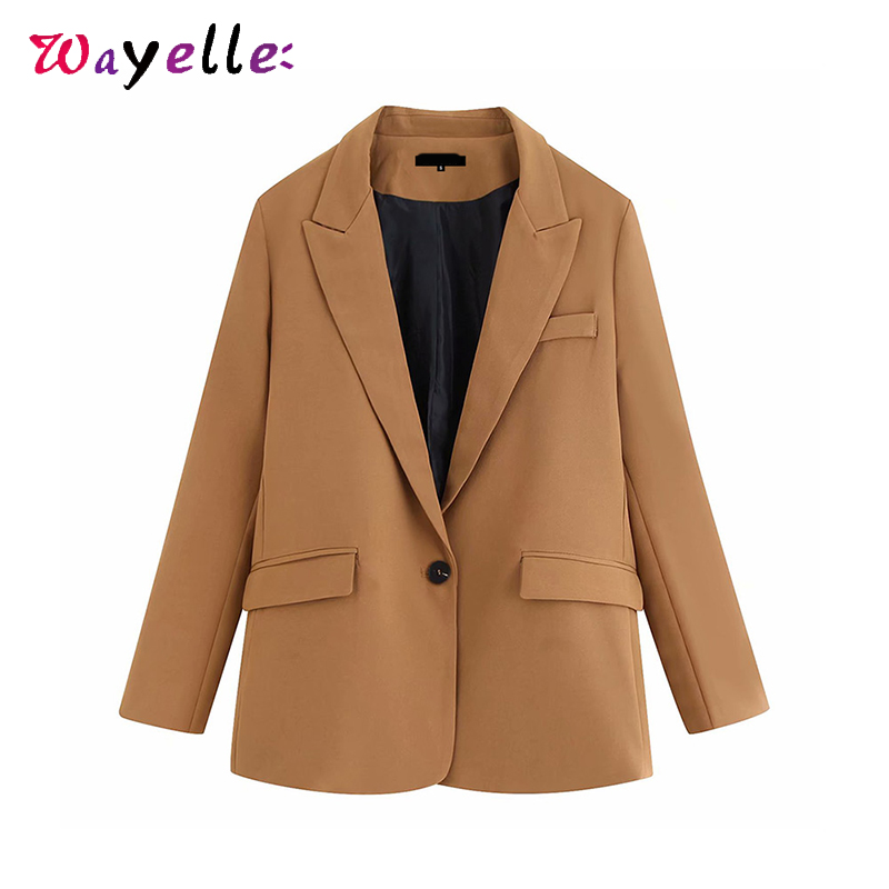 Women Blazers Chic Two Piece Suit Long Sleeve OL Elegant Blazers and Pants Pockets Women Blazers and Coats Solid Casual Pants