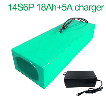 With 5A charger 52V 18Ah 14S6P 18650 Li-ion Battery Pack E-Bike Ebike electric bicycle 270*115*70mm