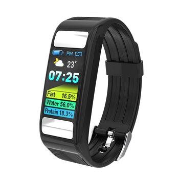 Toleda T9 montre intelligente Bodyfat tensiomètre et moniteur de fréquence cardiaque montres hommes poignet avec batterie lithium-ion rechargeable
