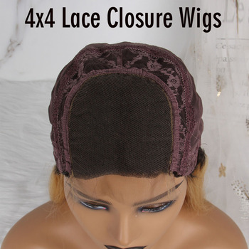 TOPODMIDO Blue Color Bob Cut Wigs For Women Peruvian Remy Hair 4x4 Closure Wigs with Baby Hair 13X1X6 Lace Front Human Hair Wigs 6