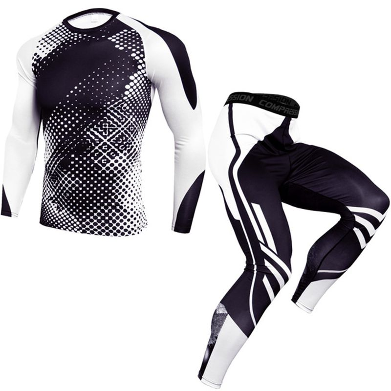 New Training Compression Sets T Shirt Men Fitness Workout Tracksuit Gyms Tight Shirts Sportswear Joggers Workout Tshirt Men MMA