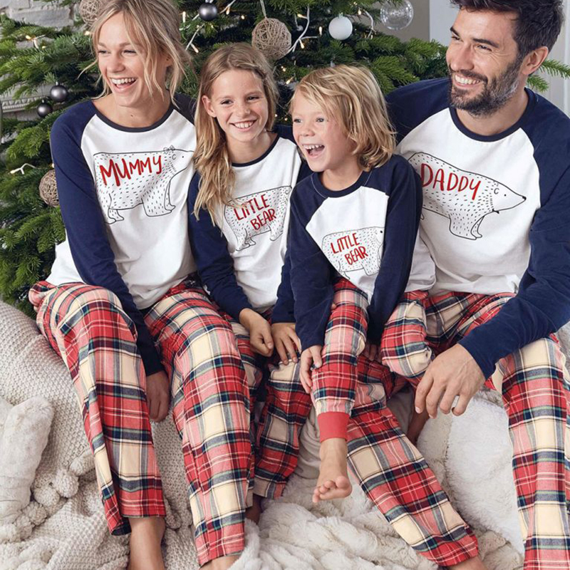 Christmas Family Costumes Suits Mom Dad Girls Boys Party Vetement Bear Pajamas Printed Long Sleeve Tops Plaid Pants Clothes Sets
