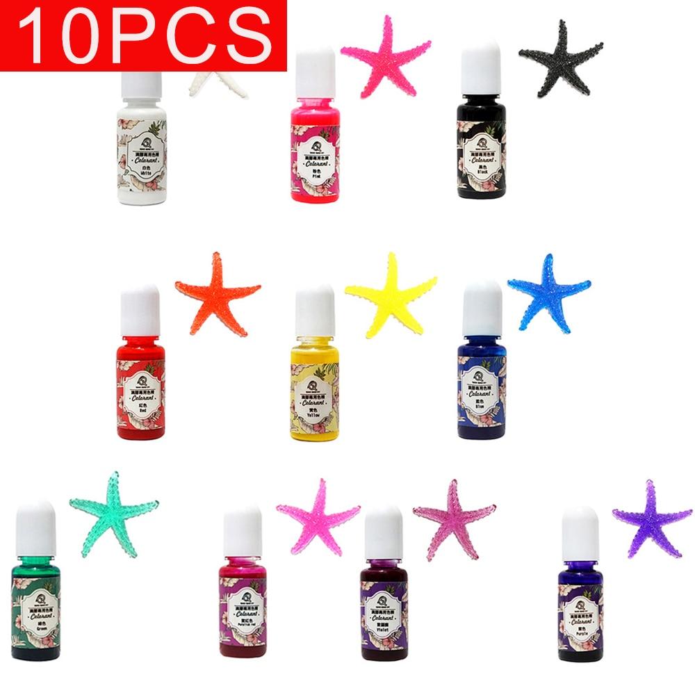 10pcs Epoxy UV Resin Coloring Dye Liquid Epoxy Pigment Resin Colorant Fading Resistance 10g Translucent Make Jewelry Pigment