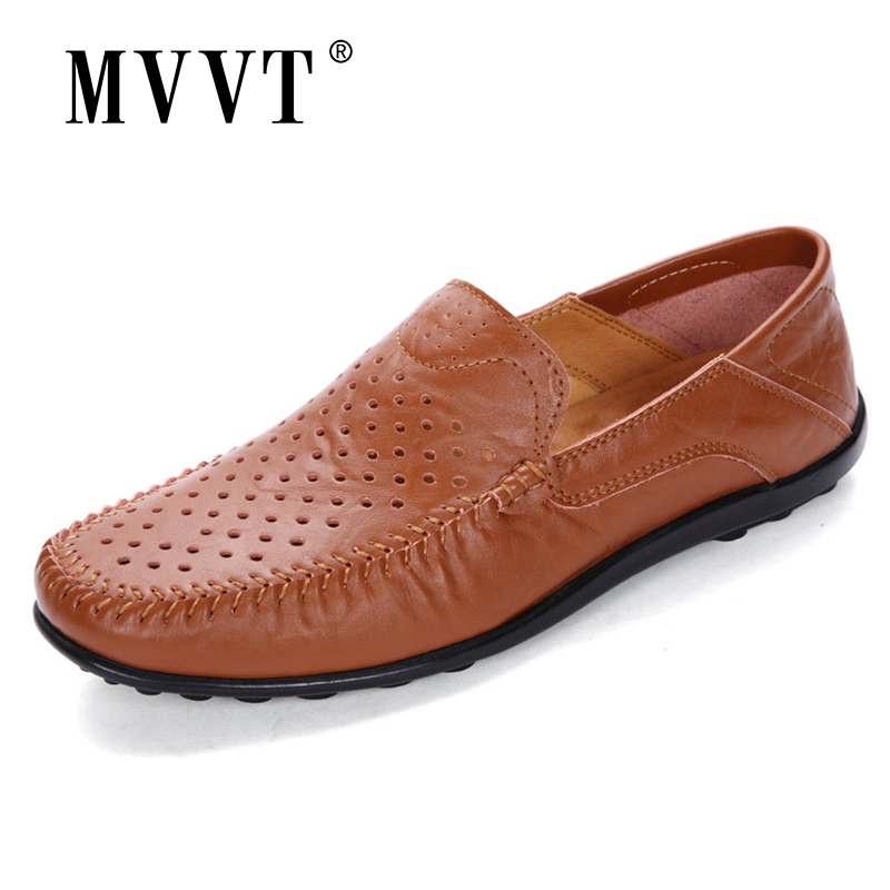 Summer Breathable Split Leather Casual Shoes Men Hellow-Out Fashion Men Loafers Slip-On Men Footwear Driving Shoes