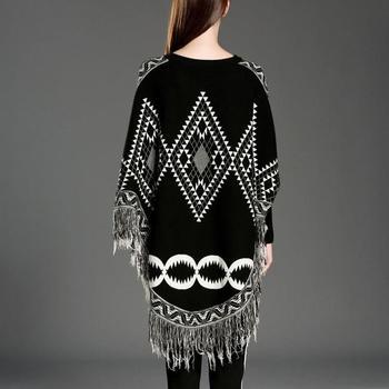 Autumn Sweater Women  Sexy Knit Cloak Ladies Europe America Street Style Shawl Sweater 6