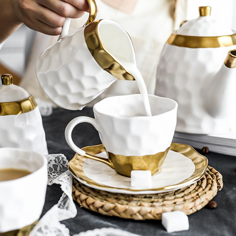 Ceramic Coffee Cup Set Simple Afternoon Teacup Tea Set with European Light Luxury Household Water Cup Teapot for Drinkware - 4