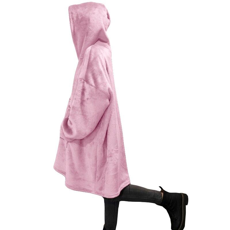 Winter Warm TV Sofa Blanket with Sleeves Fleece Pocket Hooded Weighted Blanket Adults Kids Oversized Sweatshirt Blanket for Bed-4