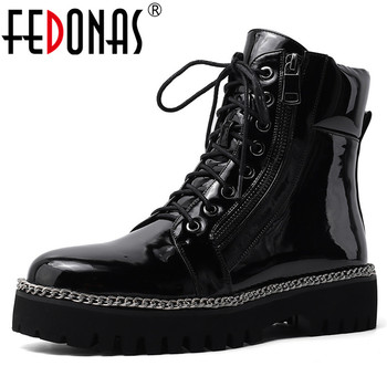 FEDONAS Plus Size Women Metal Chains Ankle Boots Punk Night Club Shoes Woman Square Heels Short Boots Winter Motorcycle Boots