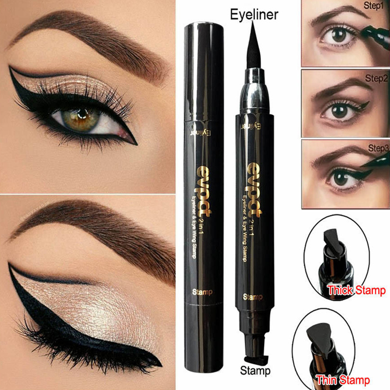 1 Pcs Double-Headed Seal Black Eyeliner Triangle Seal Eyeliner 2-in-1 Waterproof Eyes Make Kit With Eyeliner Pen And Stamp TSLM2