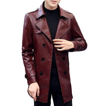 Idopy Warm Men`s Faux Leather Jacket Trench Slim Fit Lapel Collar Motorcycle Outerwear Jacket and Coat For Male