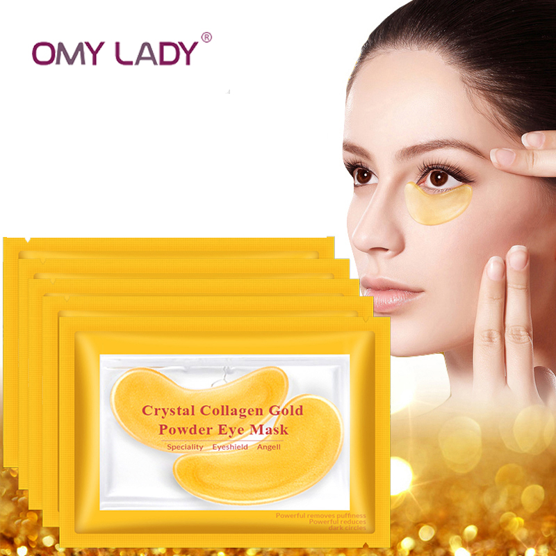 OMY LADY Hyaluronic Acid Gold Eye Masks Crystal Collagen Mask Anti-Wrinkle Eye Patches For The Eye Face Mask Remove Black Care