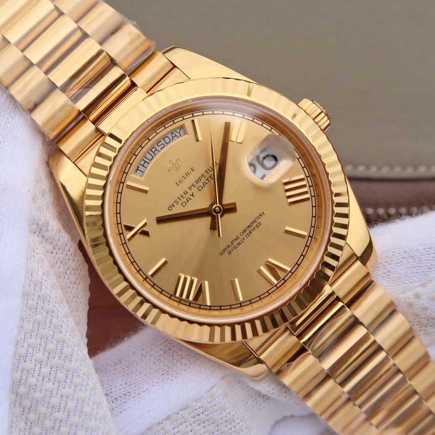 Mens Gold Watch Geneva Top Brand Luxury Watch Men Japan Miyota Quartz Watch Men Waterproof AAA Wrist Watch Montre Homme 2019
