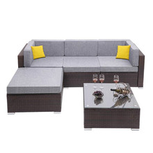 Oshion 5 Pieces Outdoor Patio PE Wicker Rattan Corner Sofa Set Included Tea Table
