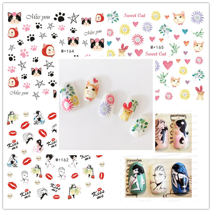 M + 159-173 New Style Japanese Korean Watermarking Manicure Stickers Cute Cartoon Nail Sticker Aiming Star Nail Sticker
