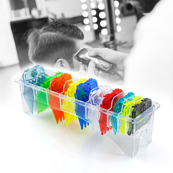 10 Pcs/Set Colorful Guide Comb Set Professional Barber Limit Combs Hairdressing Cutting Comb Replaceable Hair Clipper Limit Comb rimei abs band top comb tail comb set brown 2 pcs
